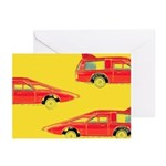 Red Pop Art Cars Greeting Cards (Pk of 10)