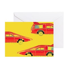 Red Pop Art Cars Greeting Cards (Pk of 20)
