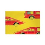 Red Pop Art Cars Rectangle Magnet (10 pack)
