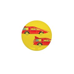 Red Pop Art Cars Mini Button