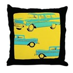 Blue Cars Pop Art Throw Pillow