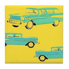 Blue Cars Pop Art Tile Drink Coaster