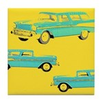 Blue Cars Pop Art Tile Drink Coaster