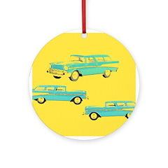 Blue Cars Pop Art Ornament (Round)