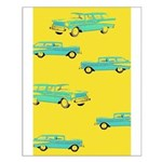 Blue Cars Pop Art Small Poster