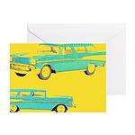 Blue Cars Pop Art Greeting Card