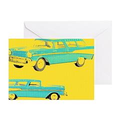 Blue Cars Pop Art Greeting Cards (Pk of 20)