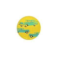 Blue Cars Pop Art Mini Button