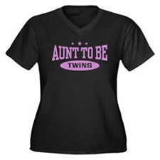 Aunt To Be Twins Women's Plus Size V-Neck Dark T-S