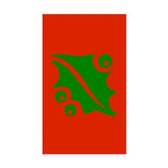 Green Holly Leaf On Red Rectangle Decal