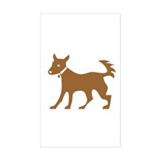 Brown Dog On White Rectangle Decal
