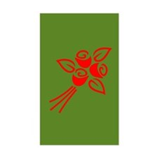 Red Flowers On Green Rectangle Decal