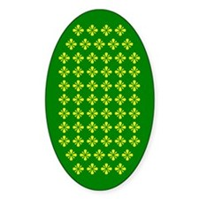 Field Of Yellow Flowers On Green Oval Decal