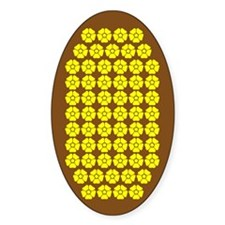 Field Of Yellow Flowers On Brown Oval Decal