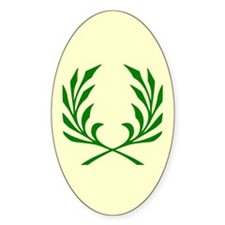 Green Laurel On Yellow Oval Decal