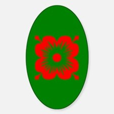 Red Flower On Green Oval Decal