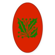 Green Holly On Red Oval Decal
