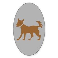 Brown Dog On Gray Oval Decal
