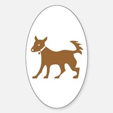 Brown Dog On White Oval Decal
