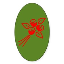 Red Flowers On Green Oval Decal