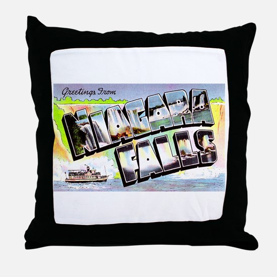 Niagara Falls Greetings Throw Pillow