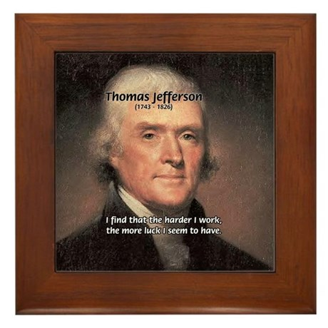 Work and Luck Jefferson Framed Tile