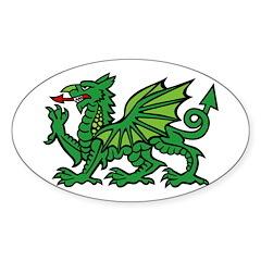 Midrealm green dragon Vinyl euro-style sticker