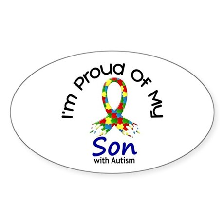 Proud Of My Autistic Son 1 Oval Sticker