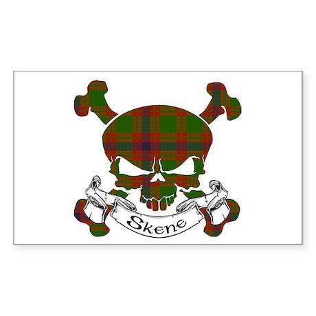 Skene Tartan Skull Sticker (Rectangle)