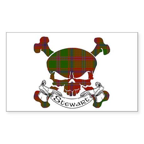 Stewart Tartan Skull Sticker (Rectangle)