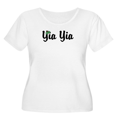 Yia Yia Holiday Holly Women's Plus Size Scoop Neck