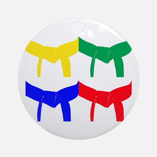 Martial Arts Colored Belts Ornament (Round)