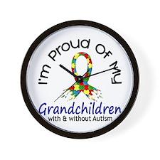 Proud Of My Autistic Grandchildren 1 Wall Clock