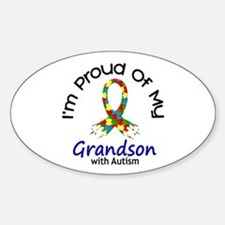 Proud Of My Autistic Grandson 1 Oval Decal