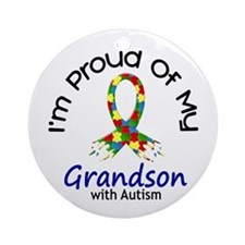 Proud Of My Autistic Grandson 1 Ornament (Round)