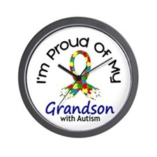 Proud Of My Autistic Grandson 1 Wall Clock