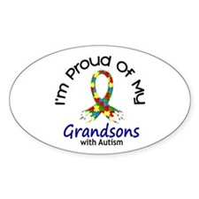 Proud Of My Autistic Grandsons 1 Oval Bumper Stickers