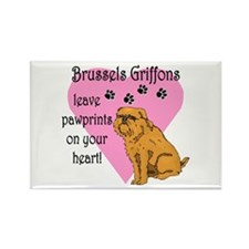 Brussels Griffon Pawprints Rectangle Magnet