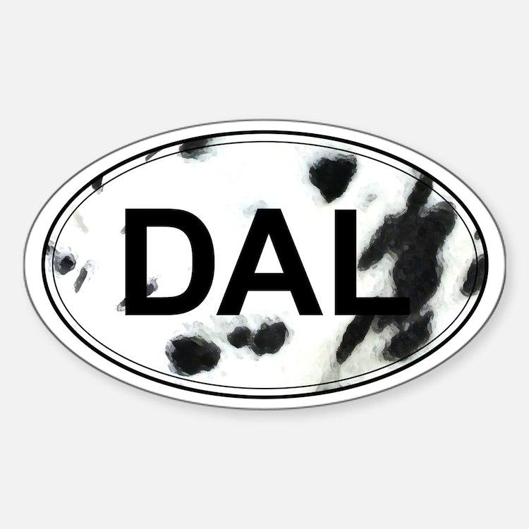 Dalmatian Oval Sticker (Black & White)