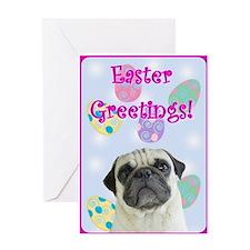 Easter greetings pug Greeting Card
