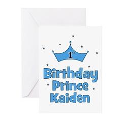 1st Birthday Prince Kaiden! Greeting Cards (Pk of