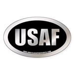 Metalic Air Force Oval Sticker