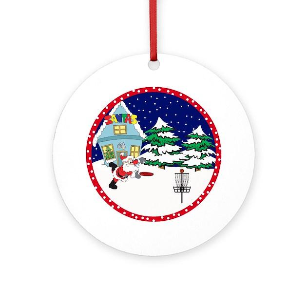 Santa Disc Golf Christmas Ornament (Round) by sparetimedesign