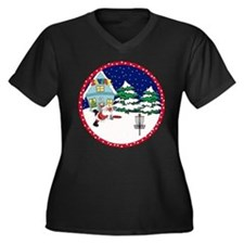 Santa Disc Golf Christmas Women's Plus Size V-Neck