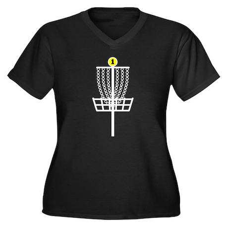 Disc Golf Hole Women's Plus Size V-Neck Dark T-Shi