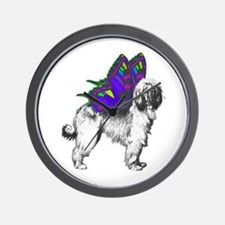 Butterfly Afghan Hound Wall Clock