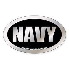 U.S. Navy Metalic Oval Decal