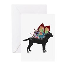 Butterfly Labrador, Black Greeting Cards (Pk of 20