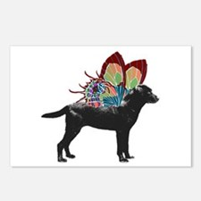 Butterfly Labrador, Black Postcards (Package of 8)