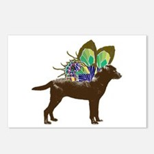 Butterfly Labrador, Chocolate Postcards (Package o